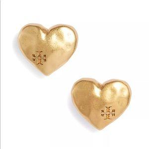 New Tory Burch Heart Logo Studs